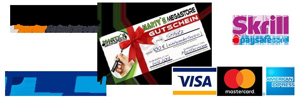 Zahlungsanbieter, Vorkasse, Kreditkarte, Skrill PaySafeCard, Klarna Sofortüberweisung, PayPal